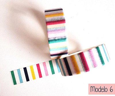 Fita Adesiva Washi Tape Estampada Mod 1 ao 10 - Avulsa