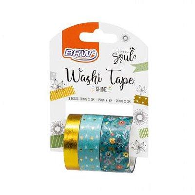 Fita Adesiva Washi Tape Brw Shine Verde c/ 3