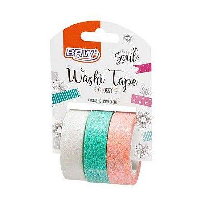Fita Adesiva Washi Tape Brw Glossy Bc/Vd/Lj c/3