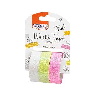 Fita Adesiva Washi Tape Brw Glossy Bc/Vd/Rs c/3