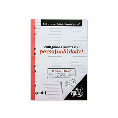 Bloco Nalí p/ Fichário Preto Colegial 80g c/30 Folhas