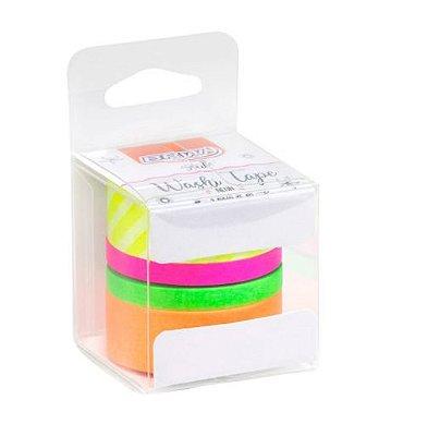 Fita Adesiva Washi Tape Brw - Neon c/ 4
