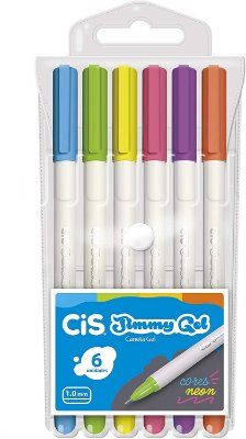 Caneta Gel Cis 1.0mm Jimmy c/6 unidades - Cores Neon