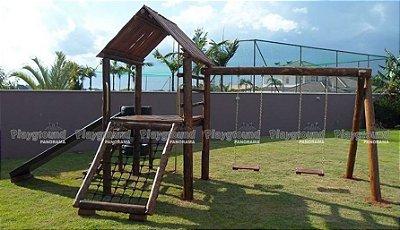 Playground Casinha do Tarzan com tubo de bombeiros e torre de pneus | Condomínio Village Castelo