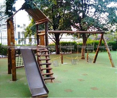 Casinha do Tarzan em eucalipto tratado | Colégio Objetivo Portal da Colina