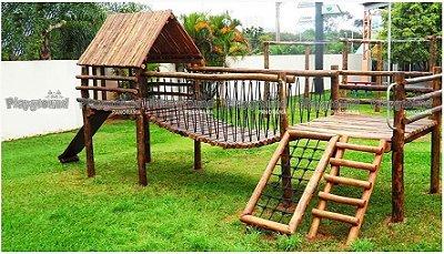 Playground Mini centro de atividades em eucalipto tratado | Colégio OSE COC Santa Rosália