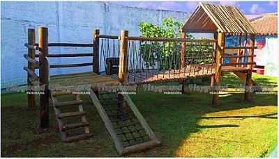 Playground Mini centro de atividades em eucalipto tratado | Colégio Bambini