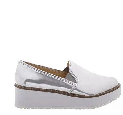 Sapato Slip On Flatform Prata Schutz