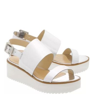 Sandália Flatform White Sole Double Straps Prata Schutz