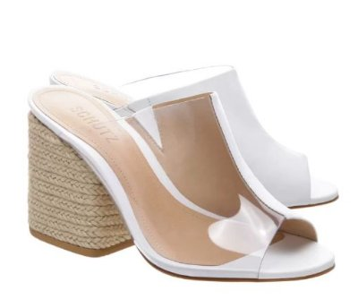 MULE VINIL BRAID HEEL WHITE