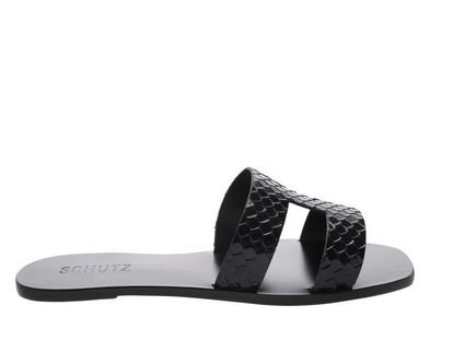 Flat Slide Croco Black