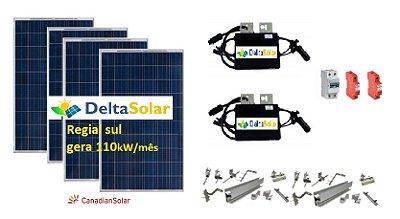 Gerador de Energia Solar Instalado - Delta Solar 1,06kWp - Gera pra região Sul uma média  de 110kWh/mês