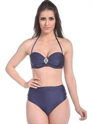 Biquíni Hot Pants Railay Beach - Top com Bojo Tomara que Caia Passante cor Azul Marinho