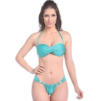Biquíni Tomara que Caia Playa Paraiso - Calcinha Cortininha com Fivelas Douradas cor Verde Jade