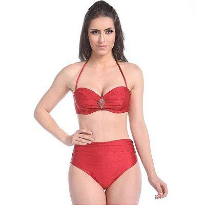 Biquíni Hot Pants Matira Beach - Top com Bojo Tomara que Caia com Passante cor Vermelho