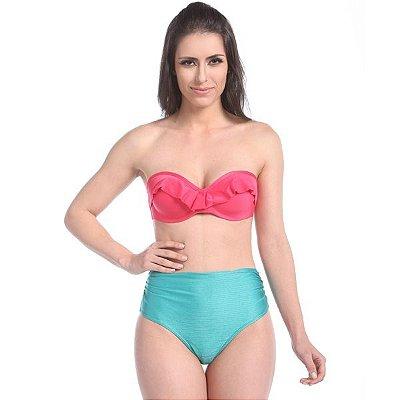 Biquíni  Hot Pants Elafonissi Beach - Top de Babado com Bojo Tomara que Caia cor de Melancia