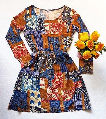 Vestido Manga Longa de Viscose