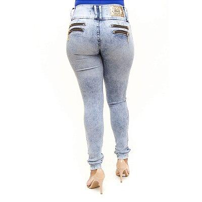 Calça Jeans Feminina Lavagem Manchada Cheris Levanta Bumbum