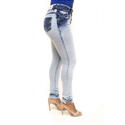 Calça Jeans Feminina Manchada Deerf Levanta Bumbum