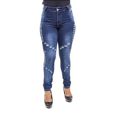 Calça Jeans Feminina Hot Pants Rasgadinha Helix