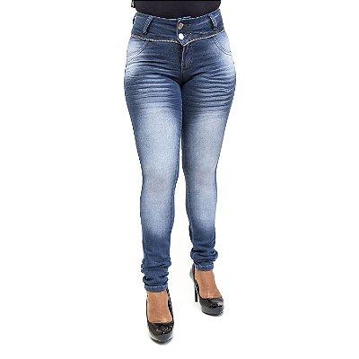 Calça Jeans Feminina Manchada Cintura Alta Helix