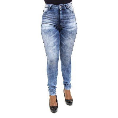 Calça Jeans Hot Pants Feminina Manchada S Planeta com Lycra