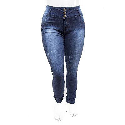 Calça Jeans Plus Size Feminina Escura Cintura Alta Thomix