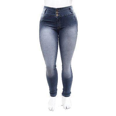 Calça Plus Size Jeans Feminina Thomix com Lavagem Manchada