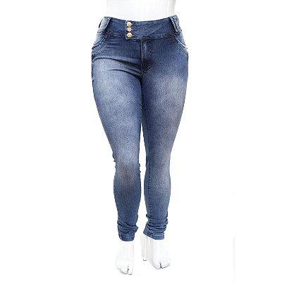 Calça Jeans Plus Size Feminina Azul Manchada MC2