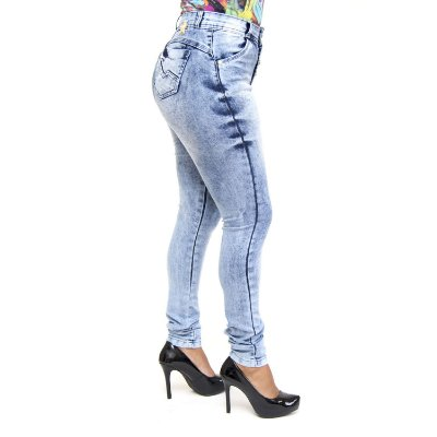 Calça Jeans Feminina Manchada Hot Pants Meitrix com Elastano