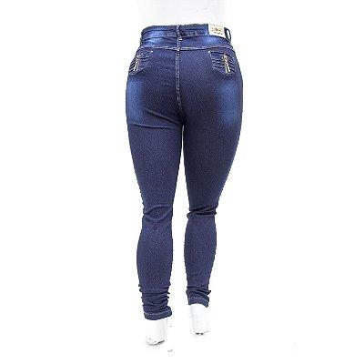 Calça Jeans Feminina Azul Escura Plus Size Hot Pants Cheris