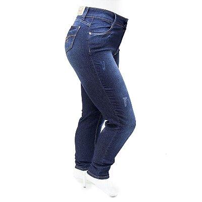 Calça Jeans Feminina Plus Size Rasgadinha Cheris com Lycra