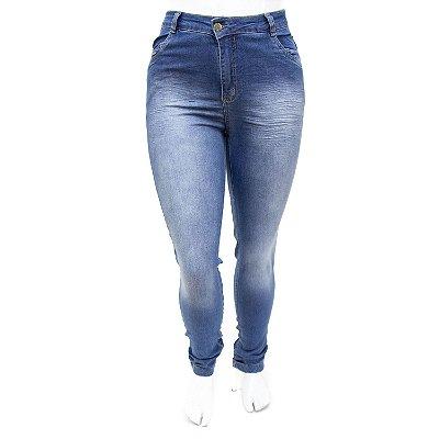 Calça Jeans Feminina Plus Size Azul Manchada Cheris com Lycra