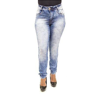 Calça Jeans Feminina Hot Pants Manchada Thomix com Lycra