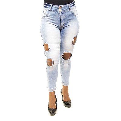 Calça Jeans Feminina Rasgadinha Deerf com Lycra