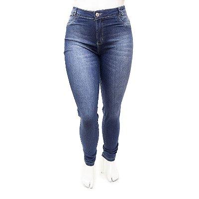Calça Jeans Plus Size Feminina Azul Básica Cheris Cintura Alta