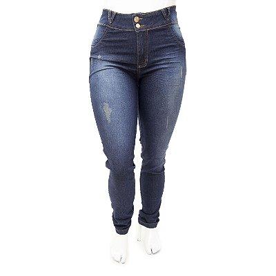Calça Jeans Plus Size Feminina Escura Desfiada Cheris Cintura Alta
