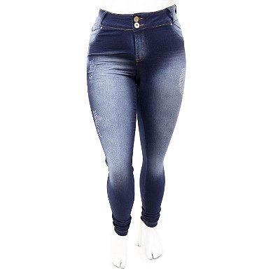 Calça Jeans Plus Size Feminina Desfiada Credencial Cintura Alta