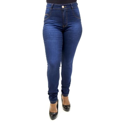 Calça Jeans Feminina Cintura Alta Azul Bic Hot Pants Thomix
