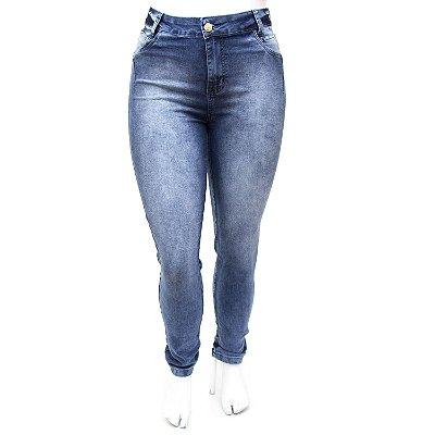 Calça Jeans Plus Size Feminina Cintura Alta Hot Pants Azul