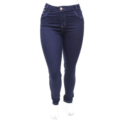 Calça Jeans Plus Size Hot Pants Cintura Alta Azul Carbono