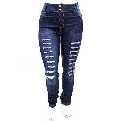 Calça Jeans Plus Size Rasgadinha Escura Cintura Alta