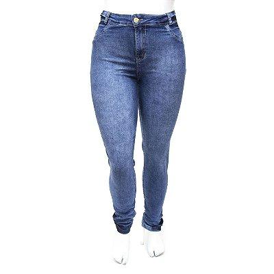 Calça Jeans Plus Size Hot Pants Manchada Cintura Alta com Lycra
