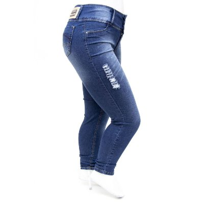 Calça Jeans Plus Size Rasgadinha Azul Thomix Cintura Alta