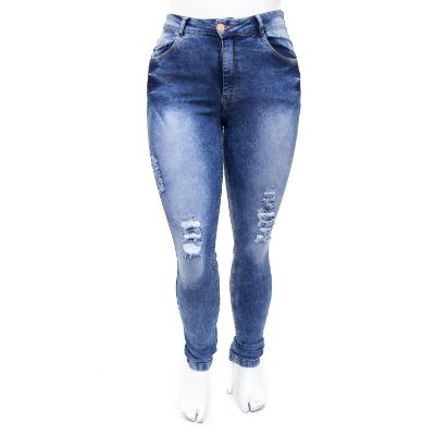 Calça Jeans Plus Size Rasgadinha Hot Pants Manchada Thomix