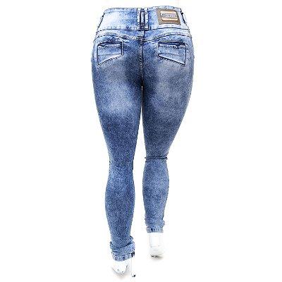 Calça Jeans Plus Size Cintura Alta Marmorizada Helix