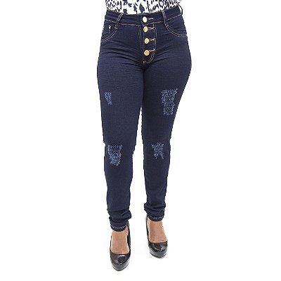 Calça Jeans Feminina Rasgadinha Cintura Alta Escura Cheris
