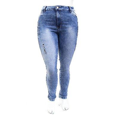 Calça Jeans Feminina Plus Size Manchada Rasgadinha Thomix