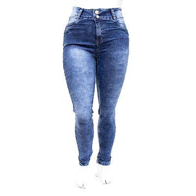 Calça Jeans Feminina Plus Size Manchada Cheris