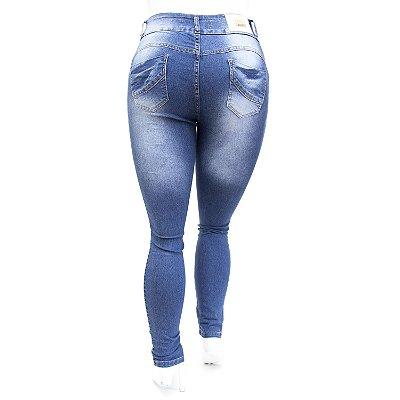 Calça Jeans Feminina Plus Size Azul Manchada Deerf